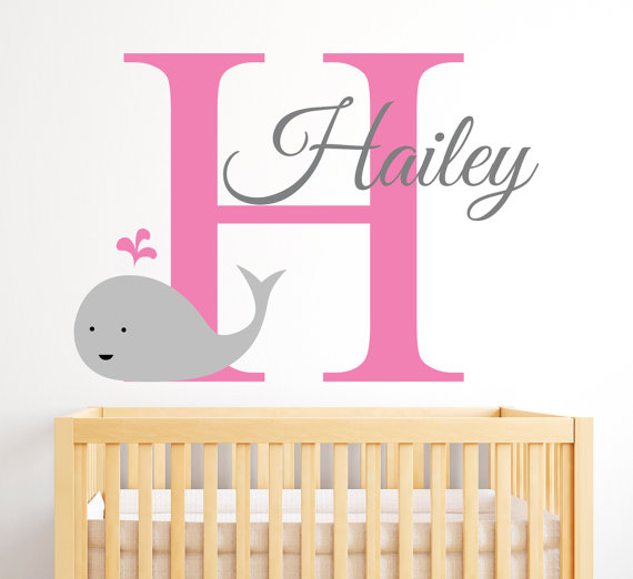 Name Wall Decal - Whale Wall Decal - Nautical Baby Girl Room Decor - Girl Name Wall Decal - Nursery Wall Decals Vinyl  sc 1 st  Pinterest : baby girl room wall decals - www.pureclipart.com