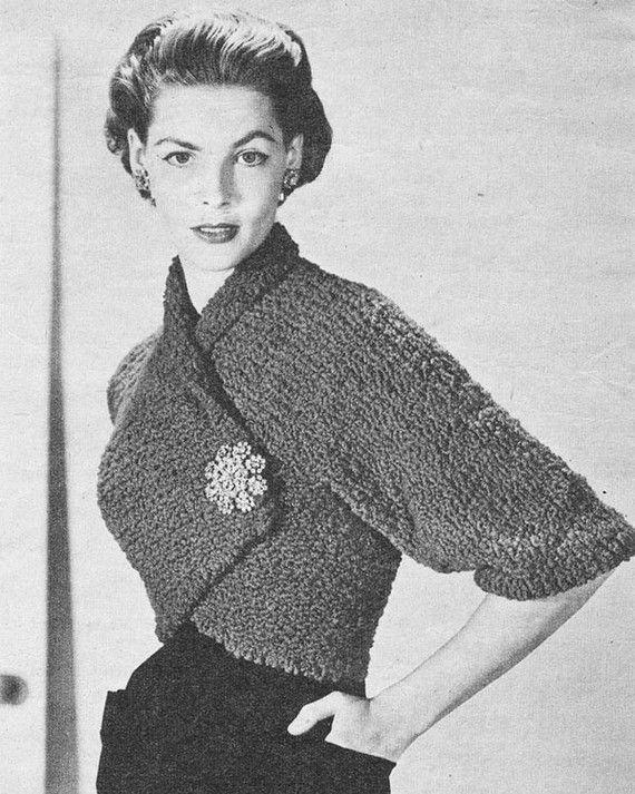 Vintage 1950s Wrap Over Shrug Knitting Pattern PDF 5205 | Shrug ...