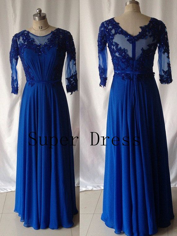 Royal Blue Plus Size Prom Dress, Long Sleeve Prom Dresses, Elegant ...