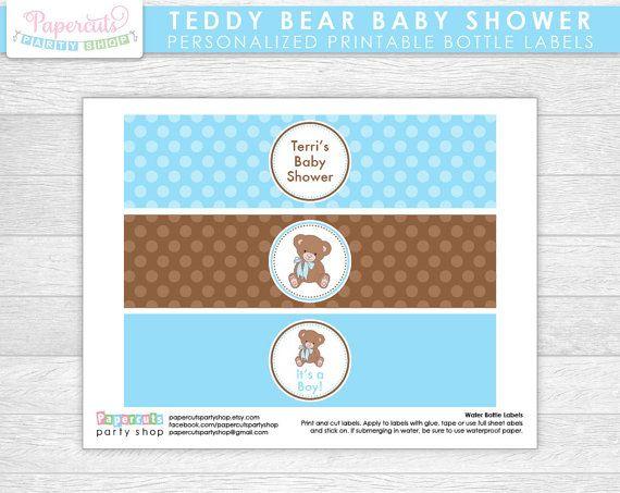 Etiquetas de botella de agua de oso de peluche tema bebé ducha