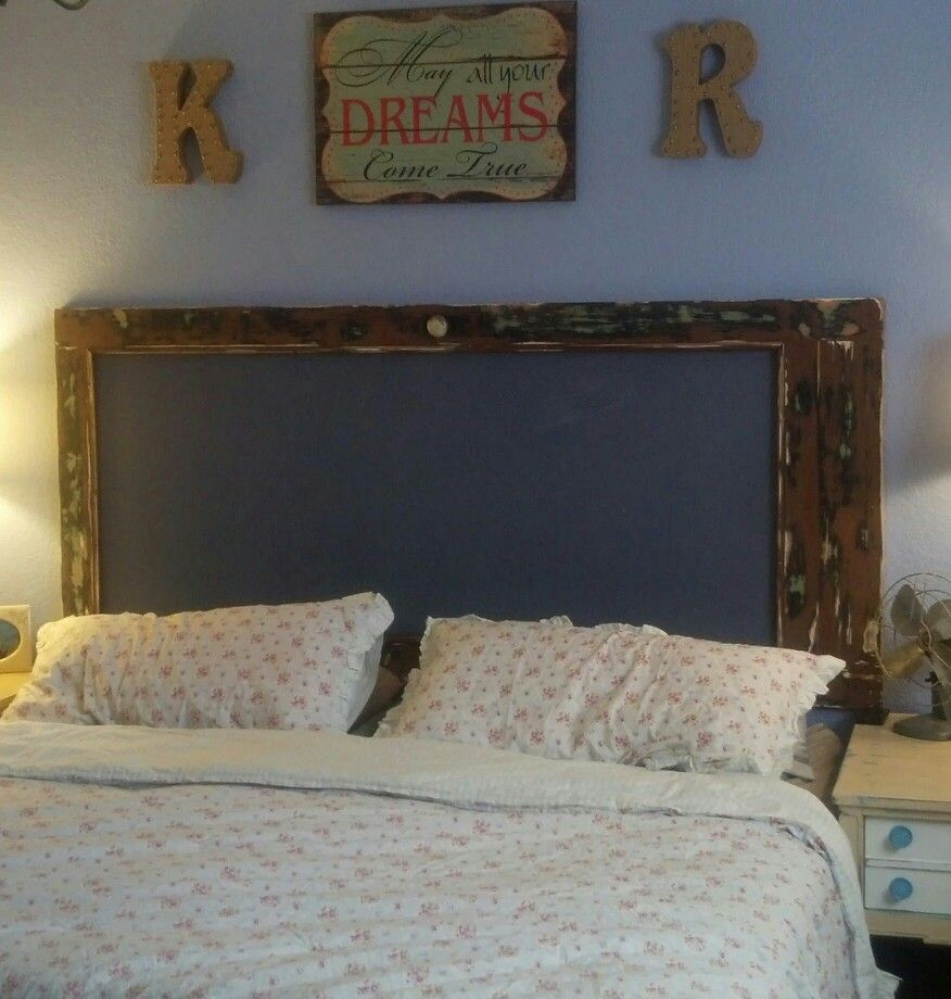 Antique Screen Door Headboard And Burlap Letter For The Home