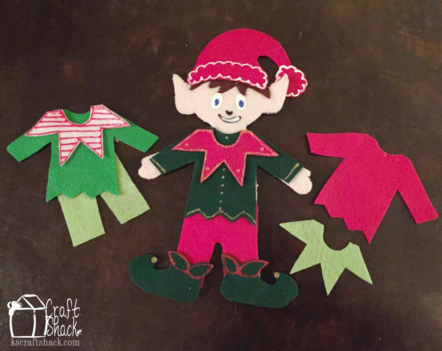 Elf On The Shelf Felt Dress Up Doll With Free Printable Template Elf Crafts Felt Christmas Ornaments Paper Doll Template