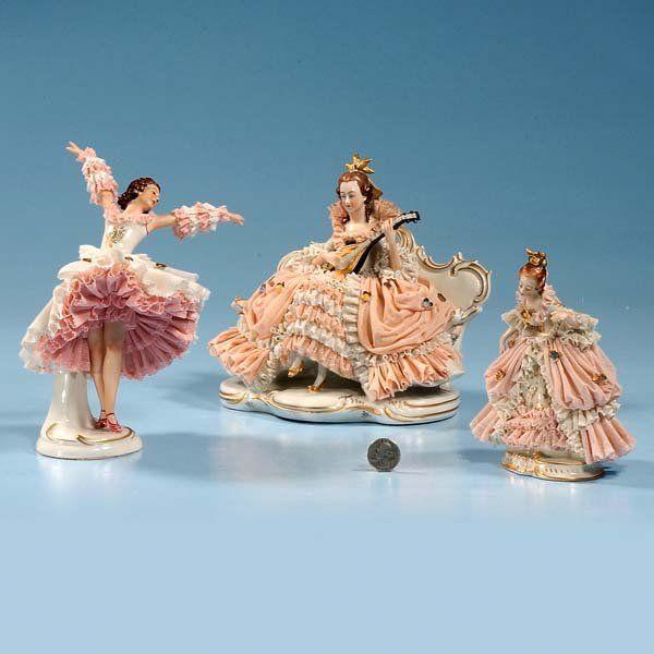 """663: Porcelain figure of lady dancer standing, 8-1/2"""" h : Lot 663"""