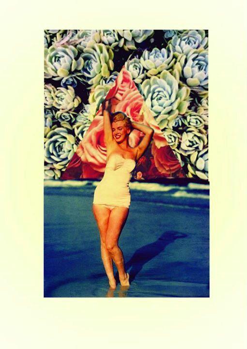 #Digital #Collage #Marilyn #space #flowers  cornara.tumblr.com Flor Cornara 2014