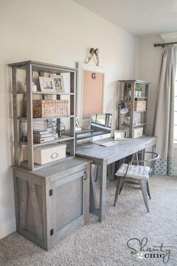 Diy bookcase desks Gray office ideas