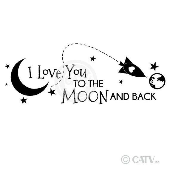 I Miss You To The Moon And Back Quotes: Rocket I Love You To The Moon And Back (A) Vinyl Lettering