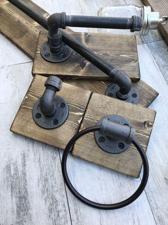 Photo of Einzigartiges Badezimmer-Set, Einmachglas Leuchte, rustikale Handtuchhalter, Toi…