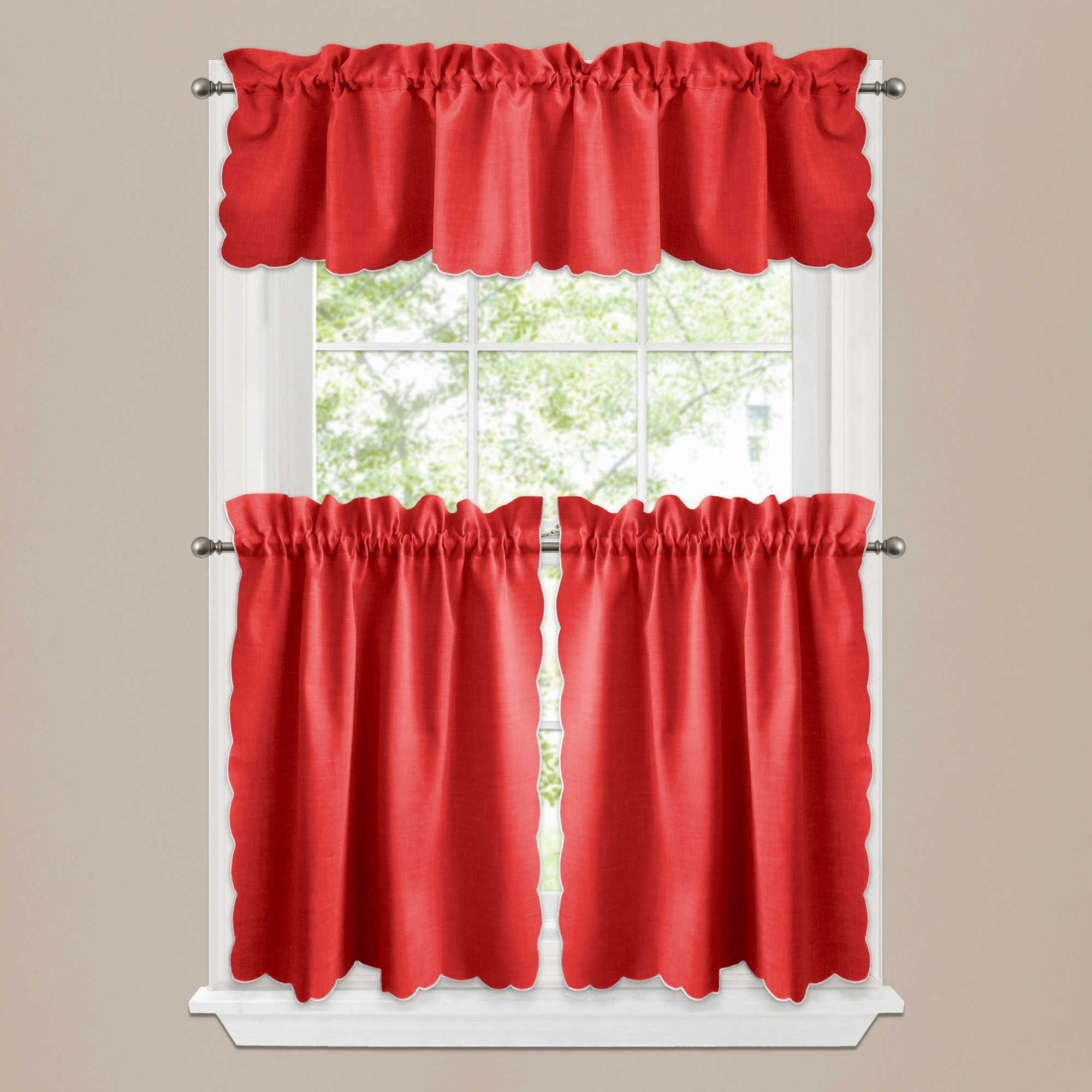 Curtains for a red kitchen