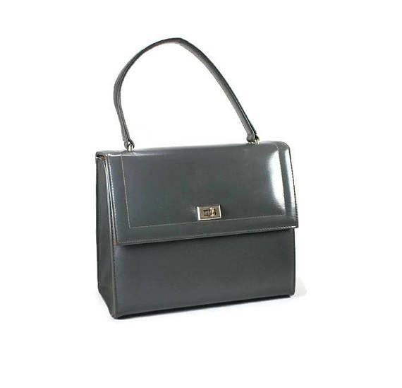 378bebca6161 Vintage Dove Grey Leather Handbag Vintage Structured Purse