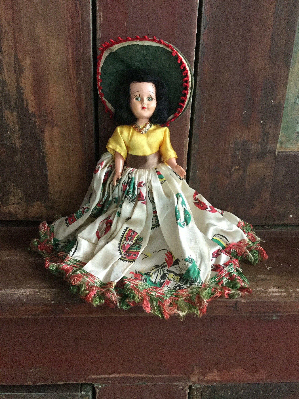 Vintage Spanish / Mexican Doll, Collectible Mid Century Toy, Awake and Sleepy Eyes / Spanish Doll #spanishdolls