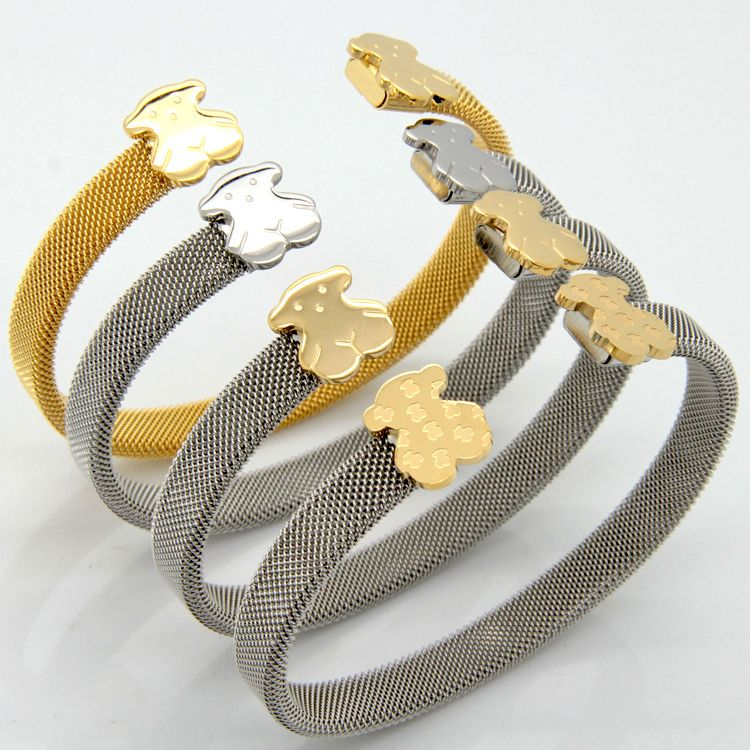 d46b76de44ec Aliexpress.com  Comprar 2014 de calidad superior de moda de acero  inoxidable C malla Cuff Bracelets bangles