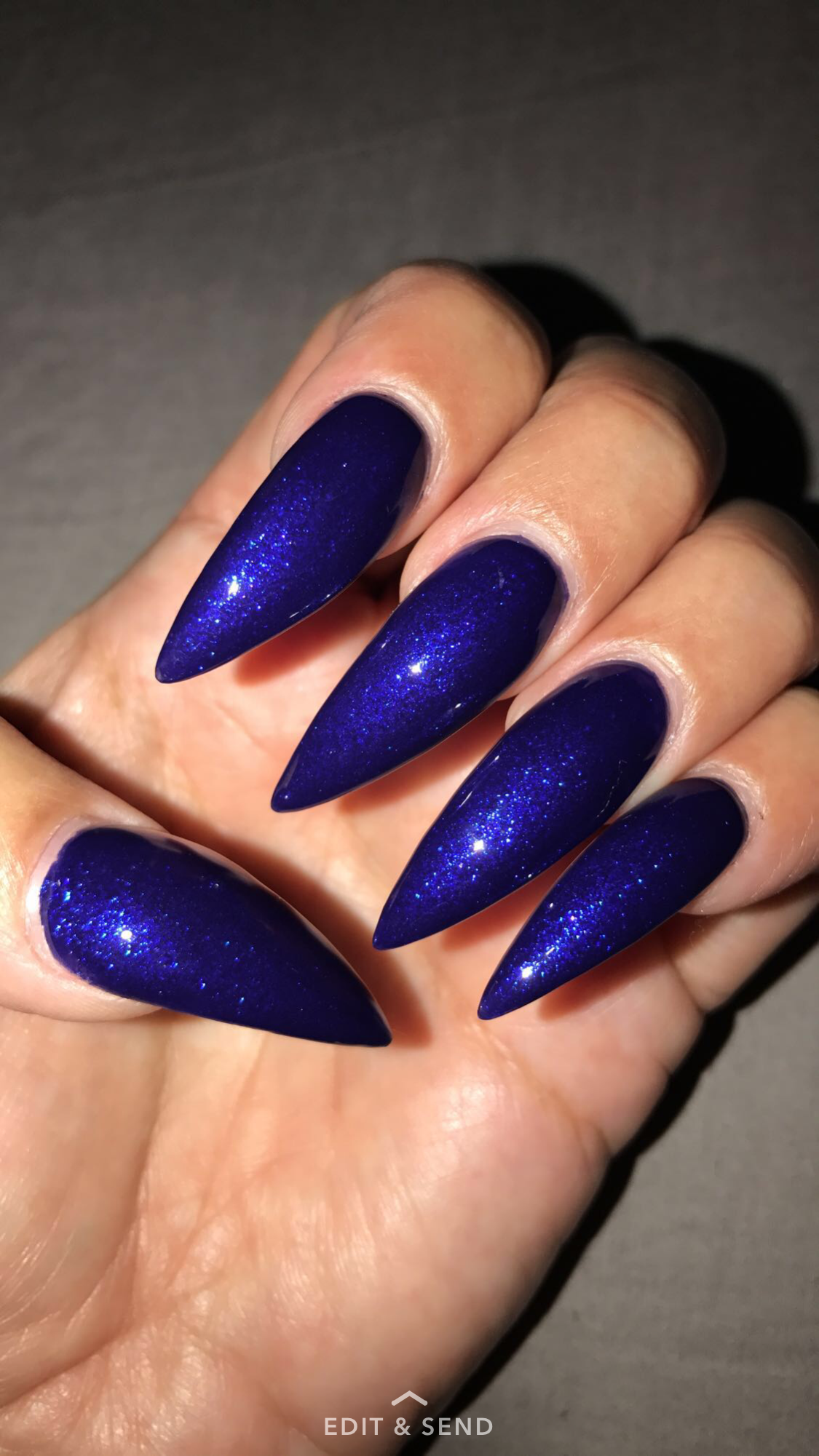 Blue Dark Purple Stiletto Nails