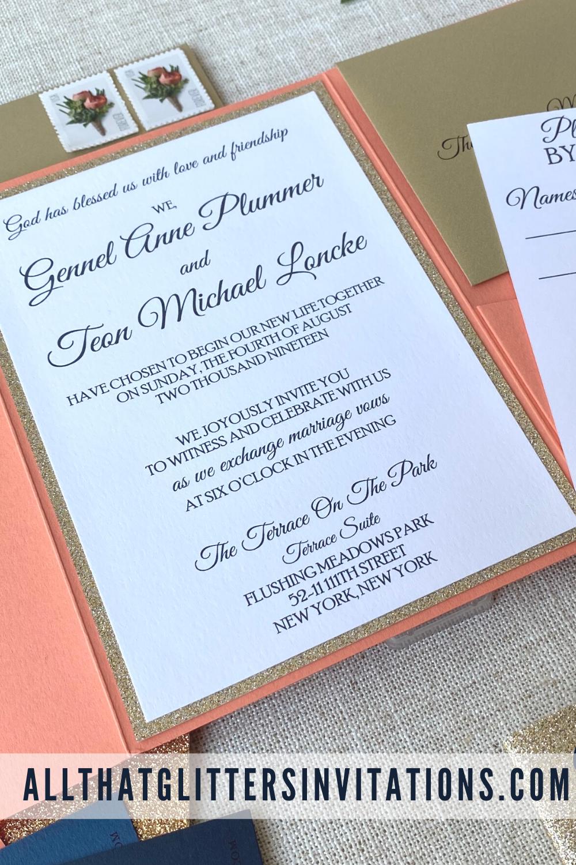 Elegant Glitter Pocketfold Wedding Invitation Evelyn Pocket Fold Wedding Invitations Glitter Invitations Glitter Wedding Invitations