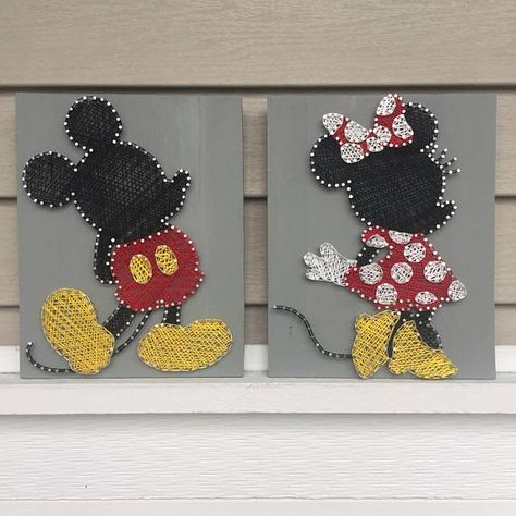 Photo of Mickey & Minnie Mouse – String Art Duo | Nursery wall art | Kindergarten… – Baby Diy