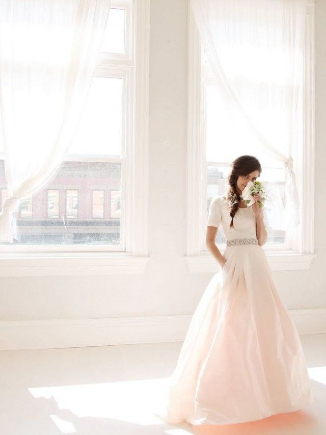 Modest colorful lds wedding dresses
