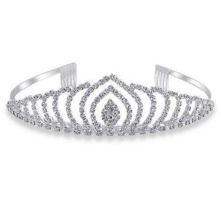 Bling Jewelry Rhinestone Laced Design Bridal Tiara Headband Silver Plated puRk4NT536