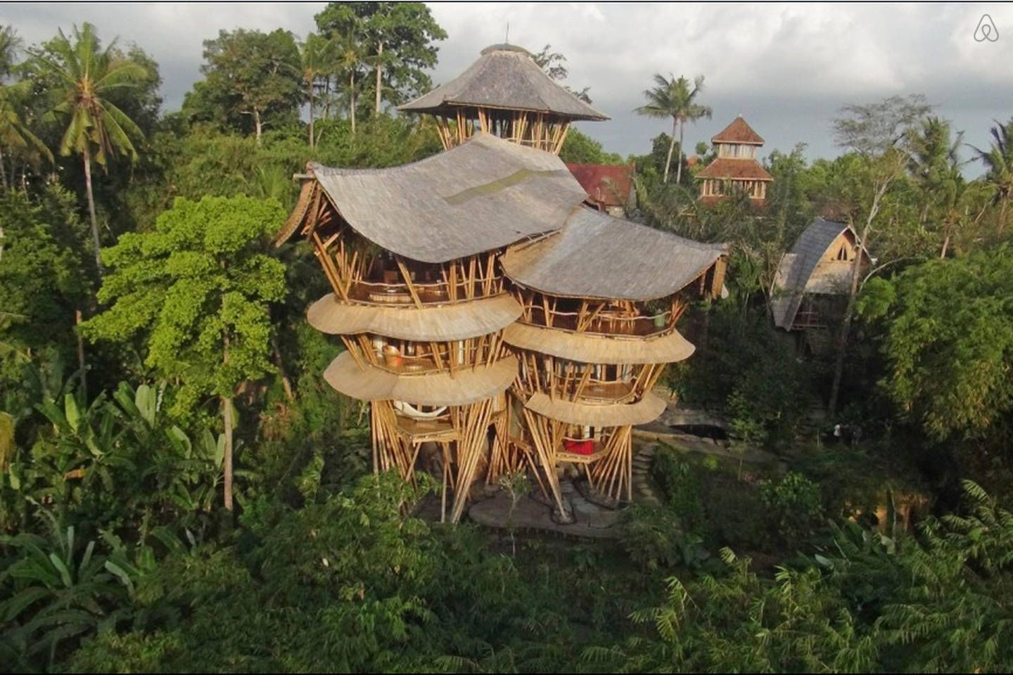 View Of Sharma Springs House From Green Village Across The Ayung - Amazing house built across a river