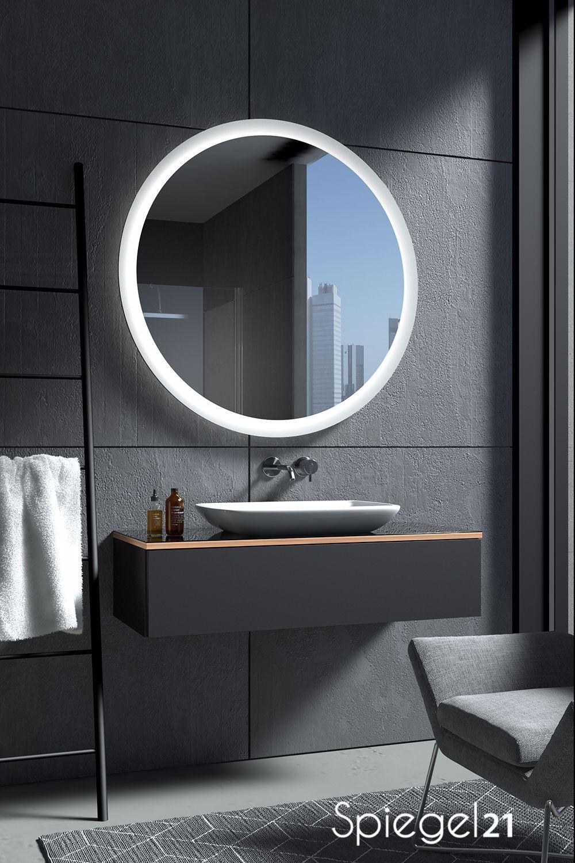 Runder Badspiegel Charon Ab 40 Cm Bis 120 Cm Durchmesser Spiegel Nach Mass Mit Lichtstarker Led Beleuchtung In 2020 Round Mirror Bathroom Bathroom Mirror Mirror
