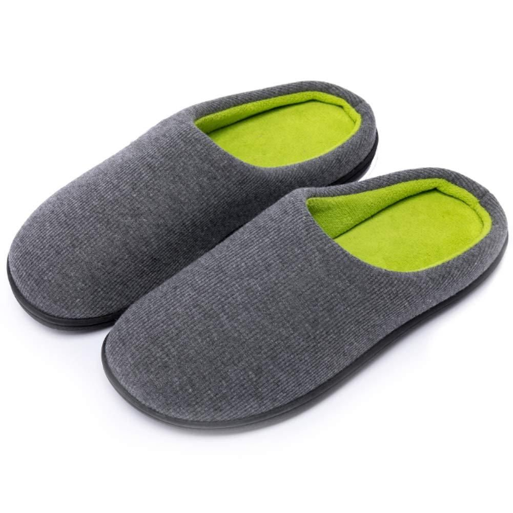 Men/'s Indoor Two-Tone Memory Foam Slippers Plush Lining Anti-Skid House Shoes