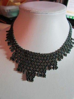 Vintage Beaded Handcrafted Peacock Seed Beads Bib Festoon Choker Necklace   eBay