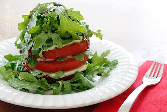 Tomato Mozzarella and Arugula Tower - wonderful vegetarian or low carb lunch on a hot day.