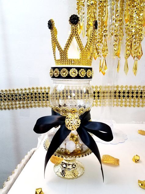 Black And Gold Prince Princess Crown Baby Shower Centerpiece