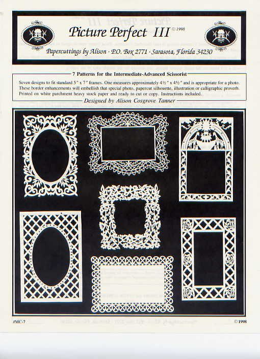 Picture Perfect III papercutting frame designs by Papercuttings by Allison
