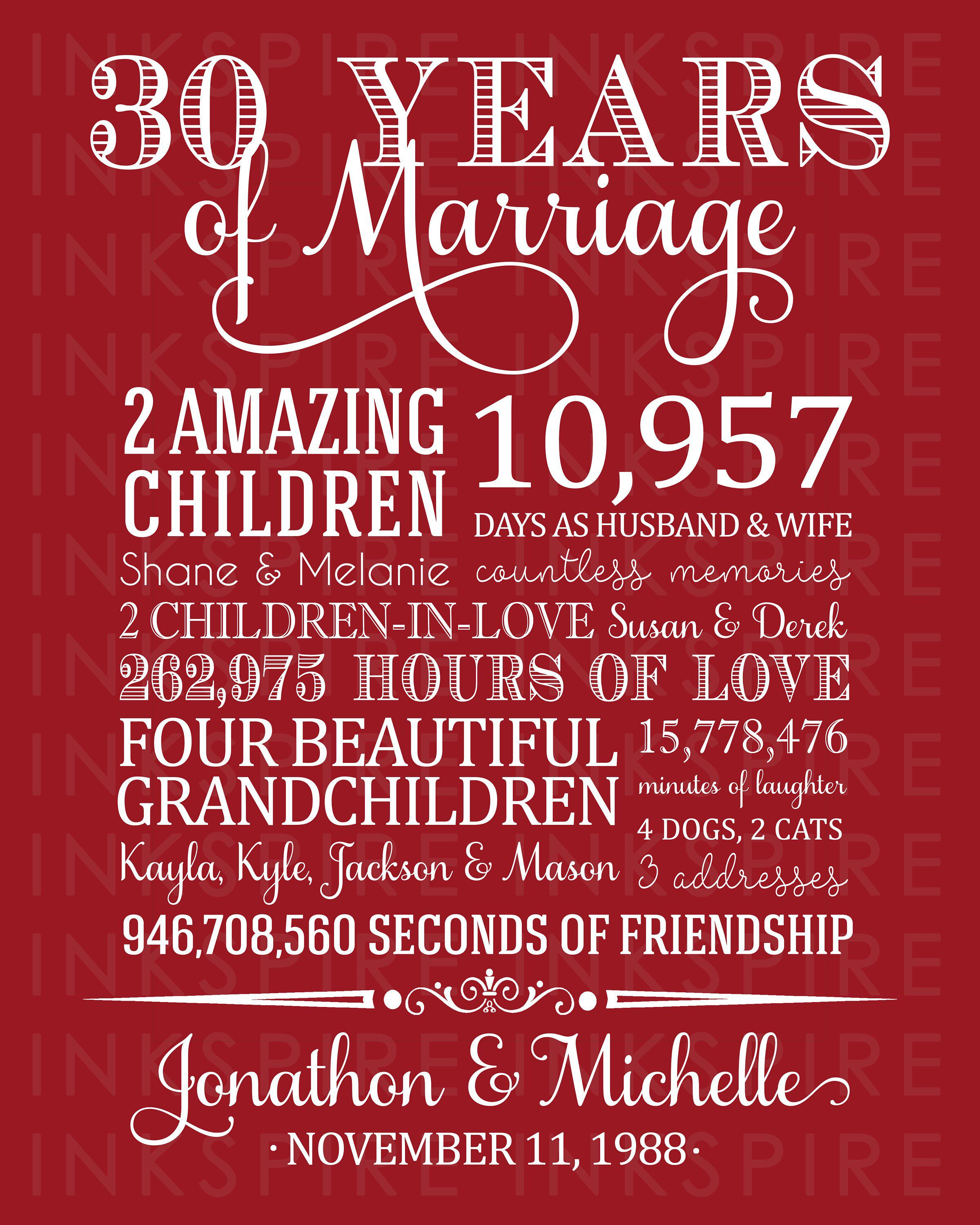 30th Anniversary Gift for Parents Printable DIGITAL FILE