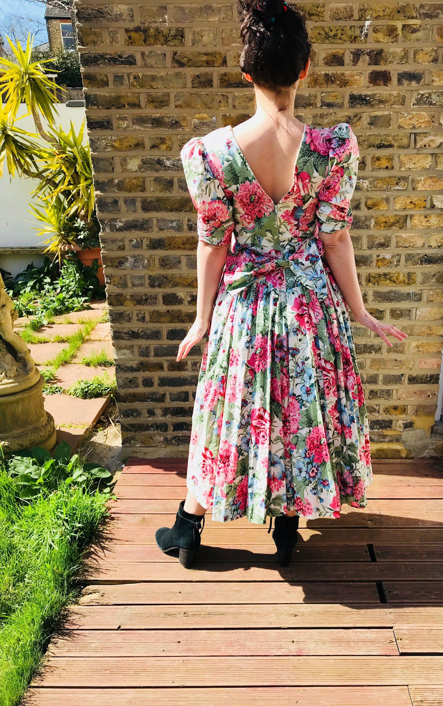 Vintage floral s bow dress crinoline dress basque waist dress v