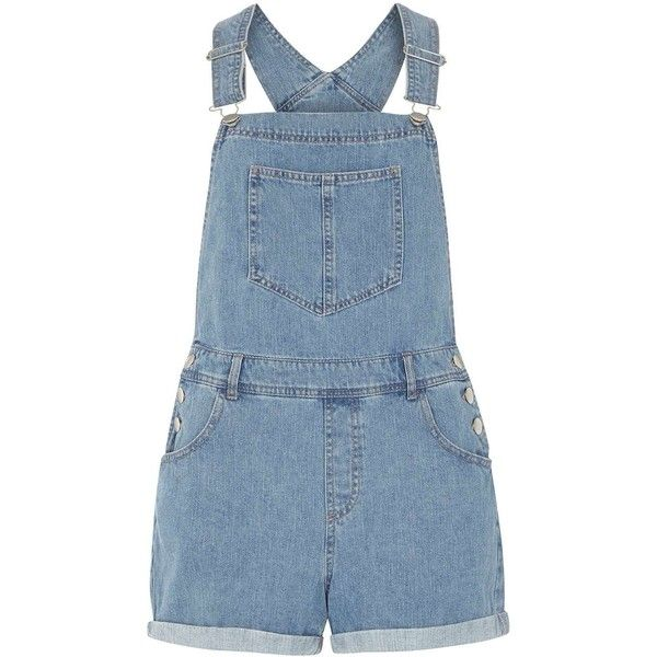 Dorothy Perkins Petite denim dungaree short found on Polyvore featuring overalls, shorts, bottoms, dresses, blue, petite, dorothy perkins and denim dungaree