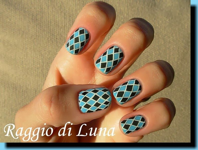 Raggio di Luna Nails: Black & light blue harlequin