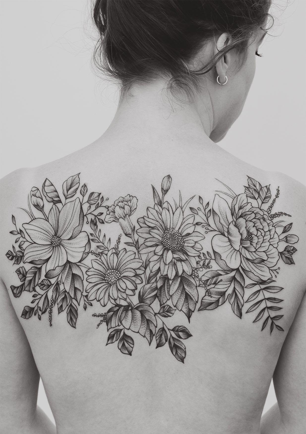 Flower Back Tattoo : flower, tattoo, Flora, McDonald, Seventh, Studio, Beautiful, Tattoos,, Floral, Tattoos