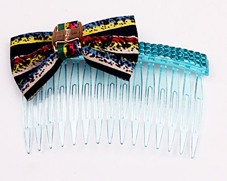 Fashion Hair Combs, With a colorful butterfly pattern, Size around 90*50*13mm, Used for decorating your hair, You can try different hair styles with it, Sold per unit, 1 pc per unit.