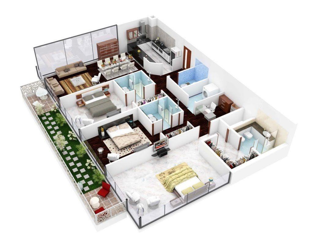 4Efficient3Bedroomfloorplans  Floor Plans  Pinterest Brilliant 3 Bedroom House Design Ideas Design Inspiration