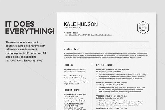 Clean Resume CV - Hudson by SNIPESCIENTIST on Creative Market