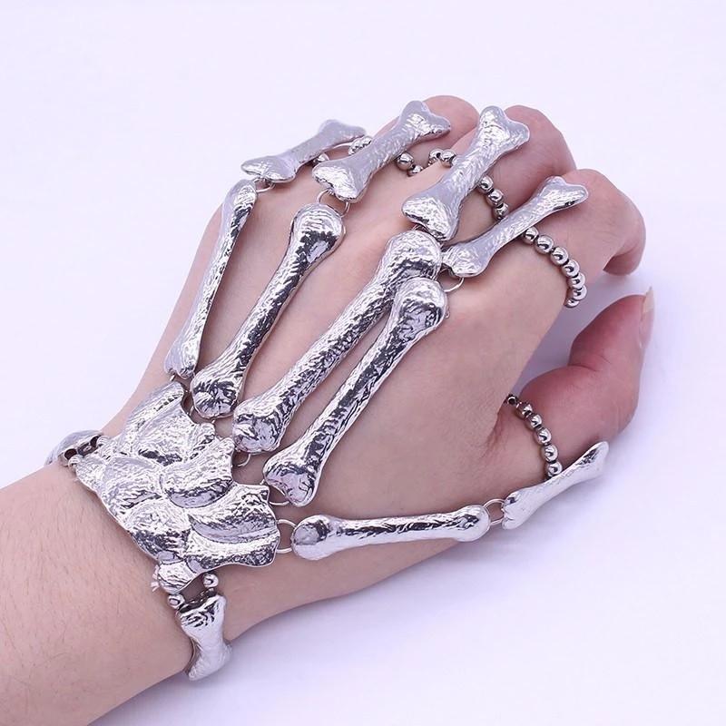 Silver Metal Hand Chain Wrist Bracelet Slave Rings Skeleton Skull Bones USA