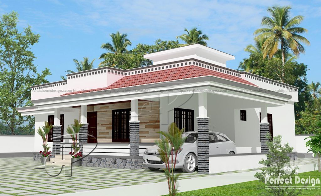1290 Square Feet 3 Bedroom Single Floor Home Design And Plan Beautiful House Plans Architectural Design House Plans Country House Design