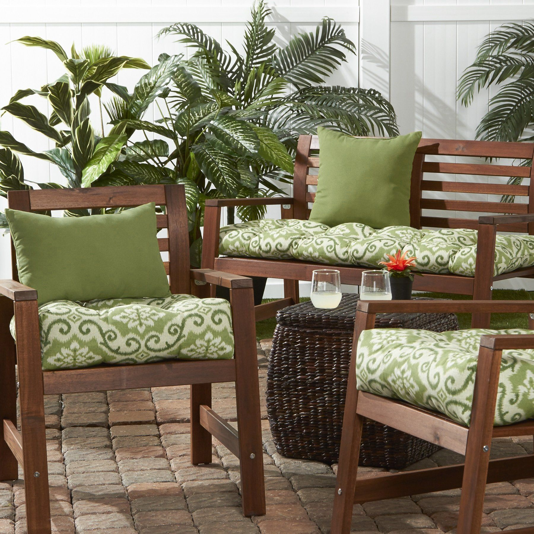 Greendale Home Fashions Indoor Outdoor Chair Cushion Green Ikat 20inch Click On The Imag Patio Seat Cushions Outdoor Chair Cushions Patio Furniture Cushions