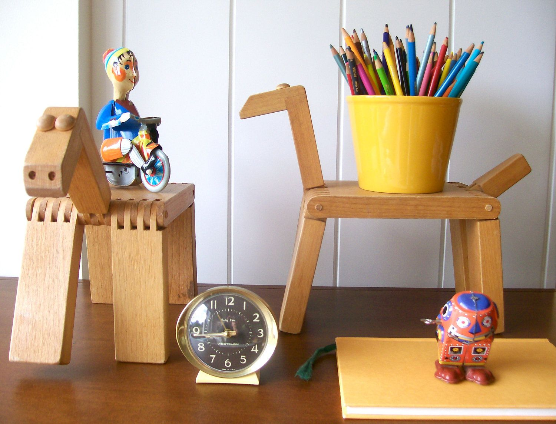Vintage Nostalgic Wooden Pair Of Toy Horses - Midcentury Modern Kids Room Decor.  via Etsy.