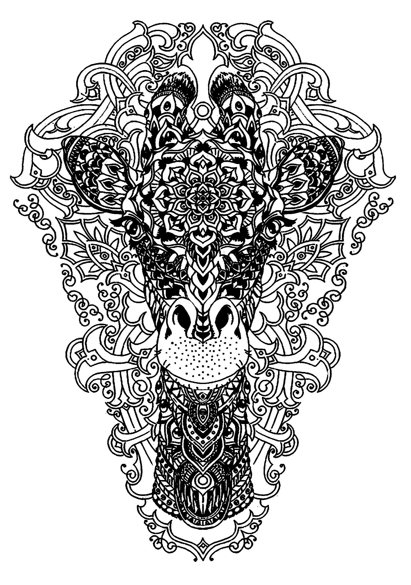 Head Of A Giraffe Head Of A Giraffe From The Gallery Giraffes Just Color Discover A Giraffe Coloring Pages Animal Coloring Pages Mandala Coloring Pages