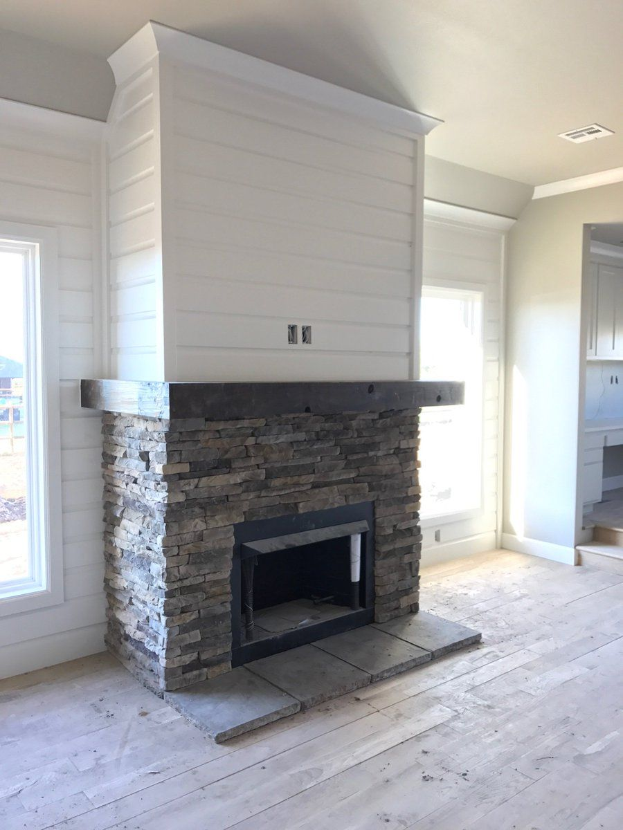 Image Result For Fireplaces With Shiplap And Stone Small