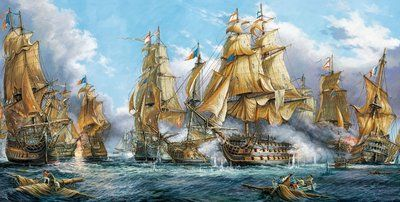 Naval Battle 4000pc Jigsaw Puzzle By Castorland Maritime Painting Old Sailing Ships Nautical Pictures
