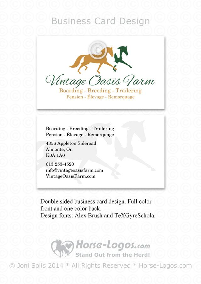 Customized Horse Logo And Business Card Design For Jessica Beauchemin Of Vintage Oasis Farm By Hor Double Sided Business Cards Business Card Design Clip Art
