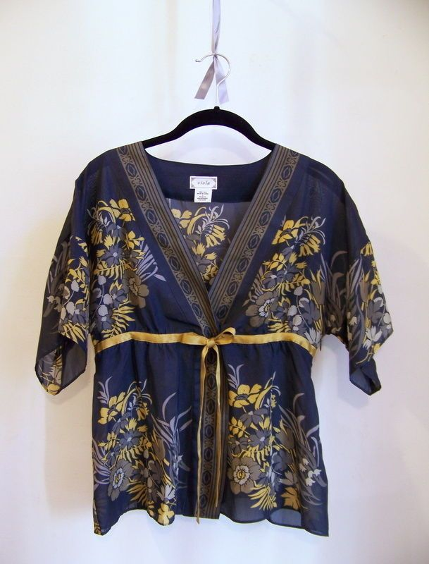 Anthropologie VIOLA Wildflower Kimono Blouse Top Shirt Sz 6 Silk Free Shipping #Viola #PulloverSideZip
