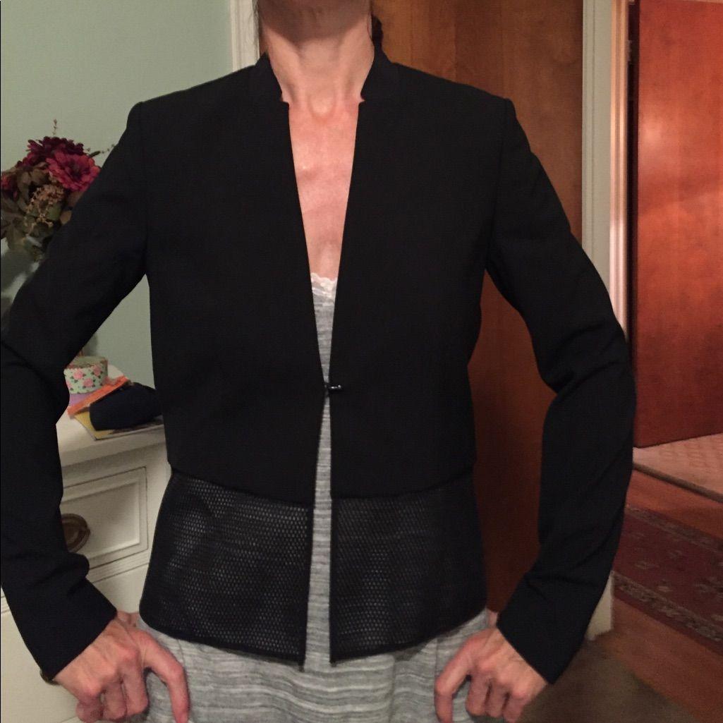 Ellie Tahari Black Silk Jacket Size 4 On Sale