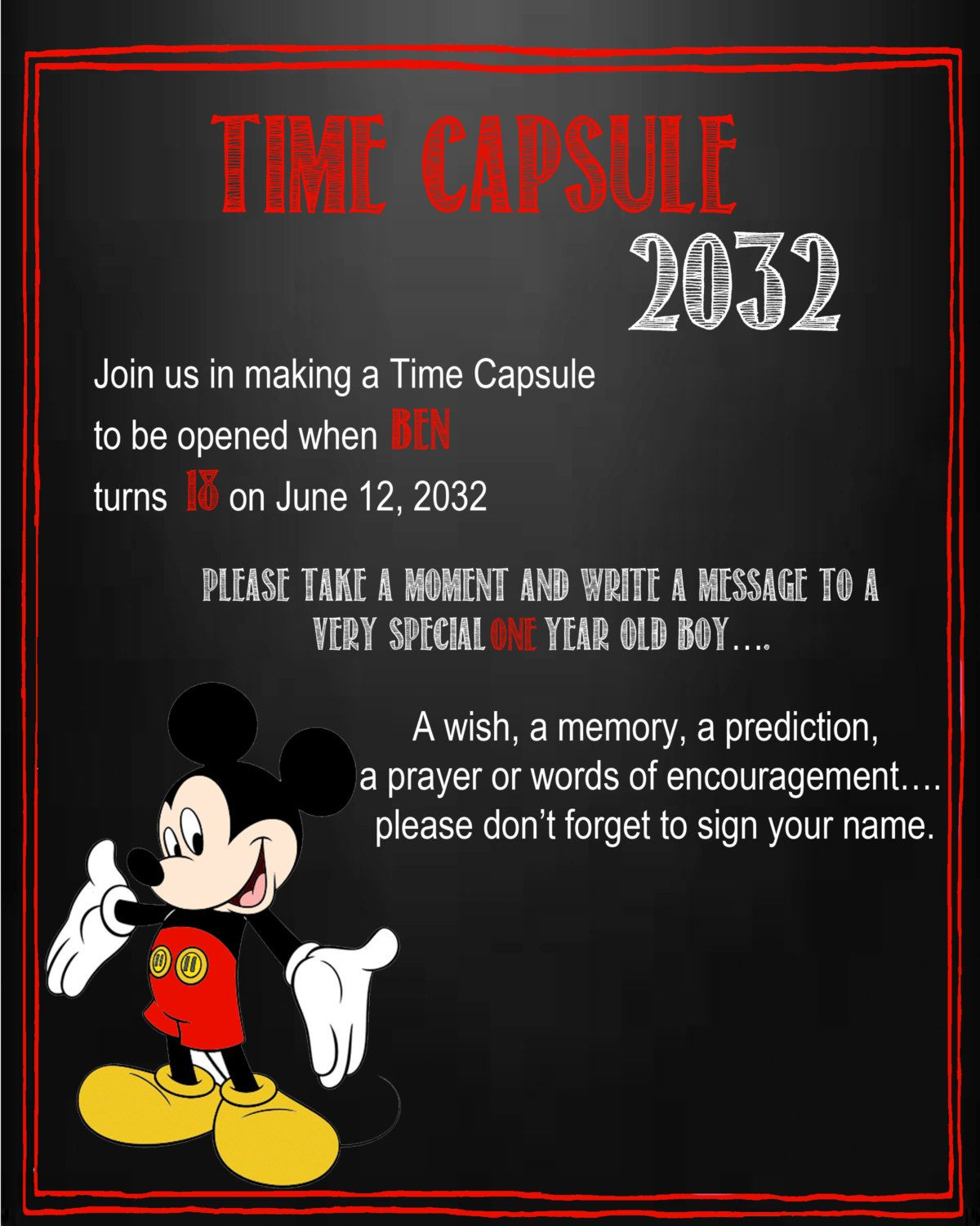 Mickey Mouse Time Capsule Sign For A First Birthday Mickey Mouse