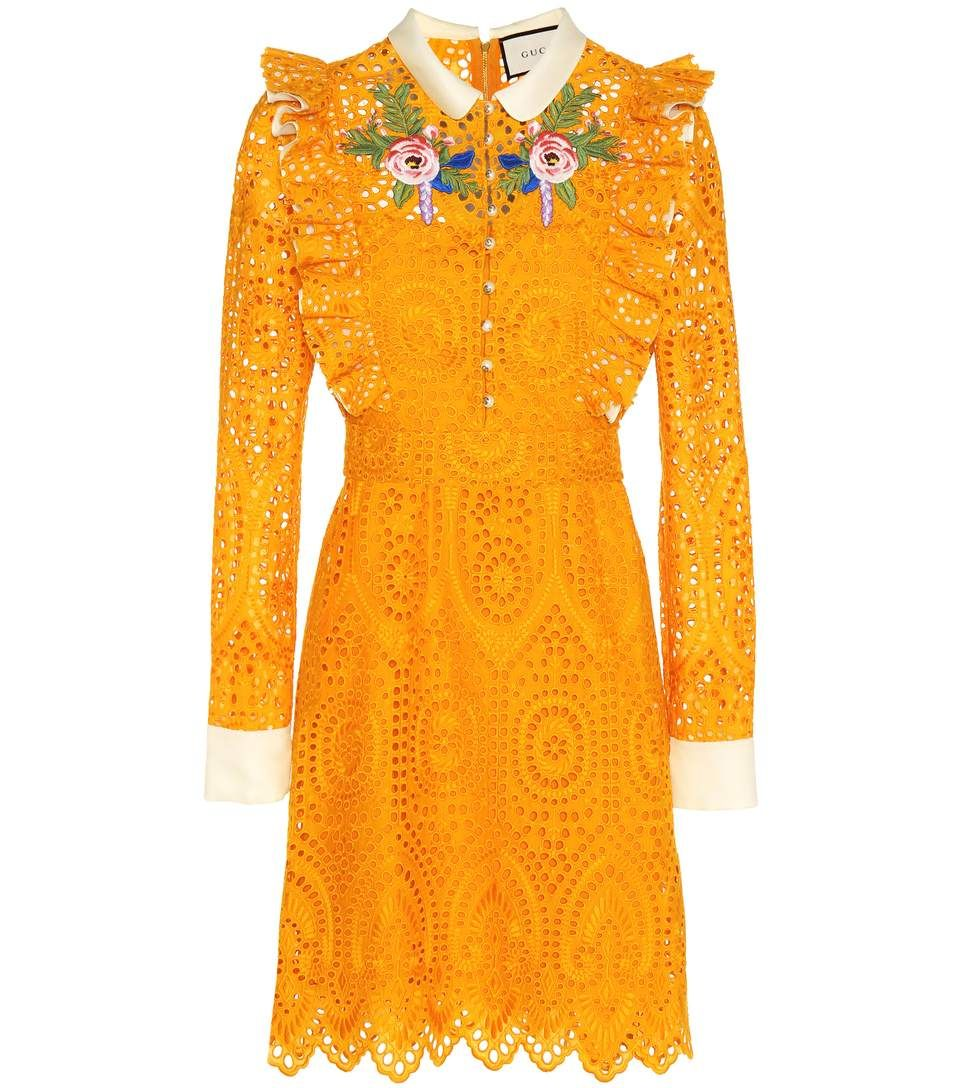 Embroidered Broderie Anglaise Dress Embroidery Dressembroidered Dressesgucci Dressorange