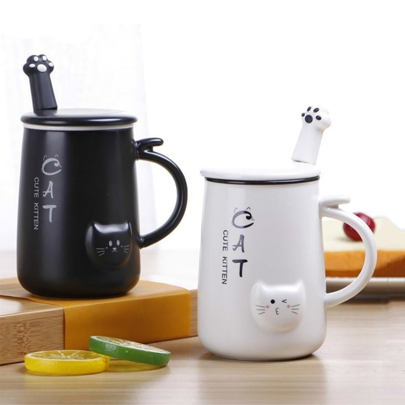 Small Cute Paw Ceramic Cat Mug, 2020
