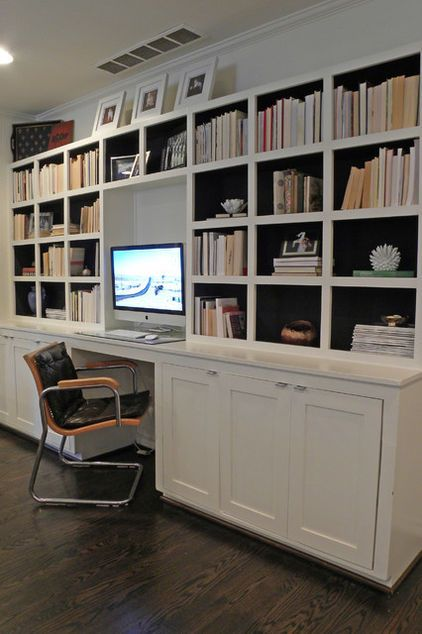 Cabinets Below Shelves Above Note Black Paint On Interior Black Work Surface Might Look Good Small Home Offices Built In Bookcase Home
