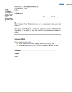 Bankruptcy Claim Form Download At HttpWwwTemplateinnCom